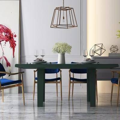 餐桌, 餐椅, 边柜, 摆件, 装饰画, 单人椅, 北欧