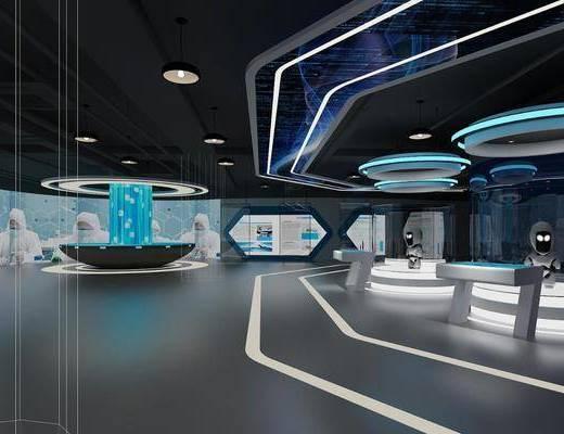 科技展厅, 展台, 吊灯, 展厅, 现代