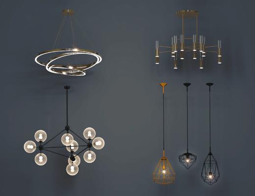 现代, 北欧, 金属, 环形, 客餐厅, 吊灯