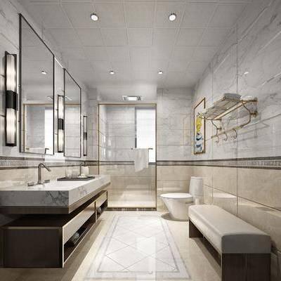 卫生间, 洗手间, 洗手台, 壁灯, 装饰镜, 马桶, 装饰画, 挂画, 人物画, 躺椅, 现代