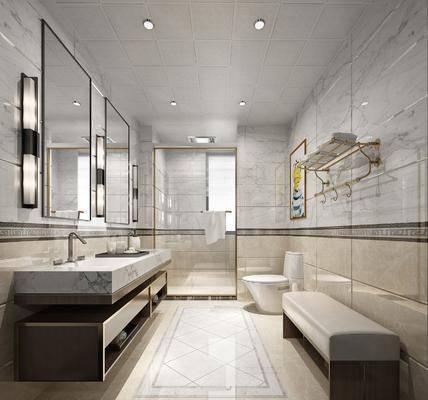 衛生間, 洗手間, 洗手臺, 壁燈, 裝飾鏡, 馬桶, 裝飾畫, 掛畫, 人物畫, 躺椅, 現代