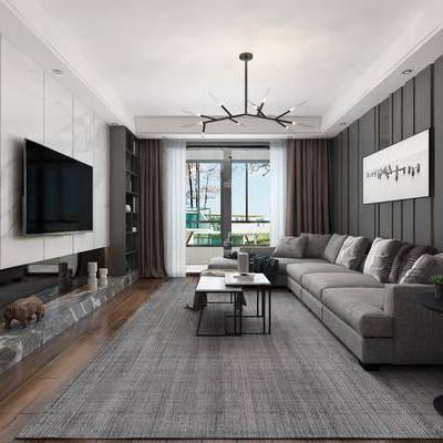 后现代简约客厅, 后现代客厅, 后现代, 现代吊灯, 布艺沙发, 茶几, 装饰画