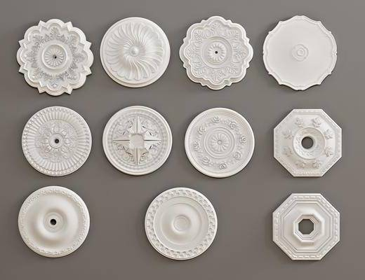 石膏燈盤, 構件雕花, 墻飾組合, 歐式
