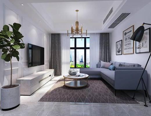 北欧风, 时尚, 北欧简约, 客厅, 北欧客厅, 沙发组合