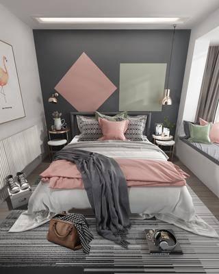 卧室, 双人床, 床头柜, 吊灯, 现代卧室, 北欧卧室
