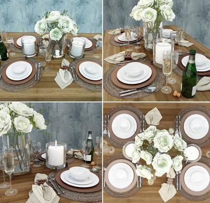 餐具, 花瓶, 花卉, 摆件, 摆件组合, 蜡烛, 植物, 现代, 酒水
