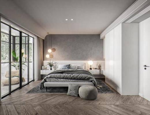 双人床品组合, 床头柜, 床头吊灯, 懒人沙发, 抱枕, 矮凳