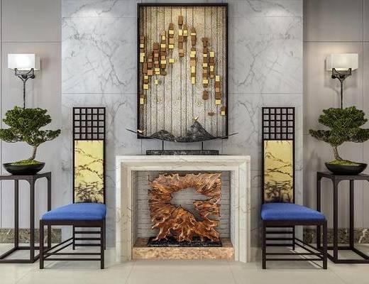 中式椅子, 中式挂画, 装饰品, 中式, 绿植, 壁灯