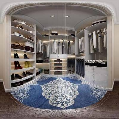 现代衣帽间, 现代, 衣帽间, 衣服, 妆台, 门, 衣柜