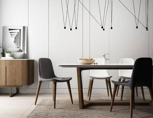 北欧简约, 北欧餐桌, 实木餐桌, 餐桌, 椅子, 餐桌组合, 北欧, 下得乐3888套模型合辑
