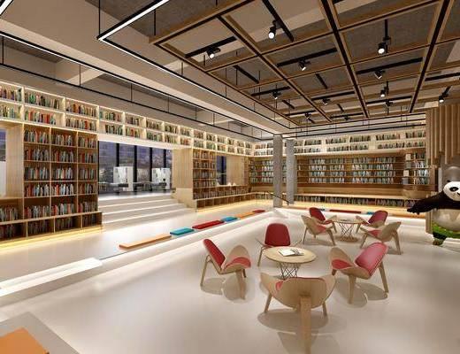 桌椅组合, 书柜, 书籍, 书架