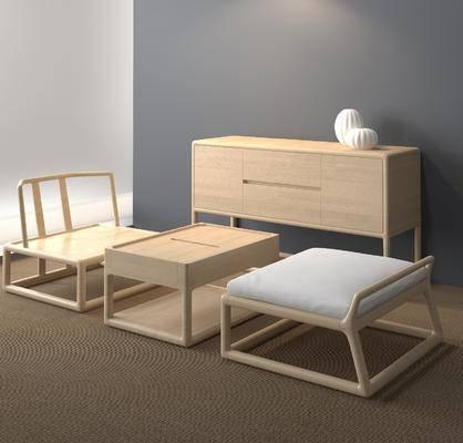 中式桌椅组合, 茶几, 单人椅, 边柜, 中式
