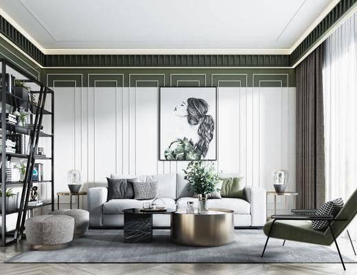 沙發組合, 茶幾, 單椅, 裝飾畫