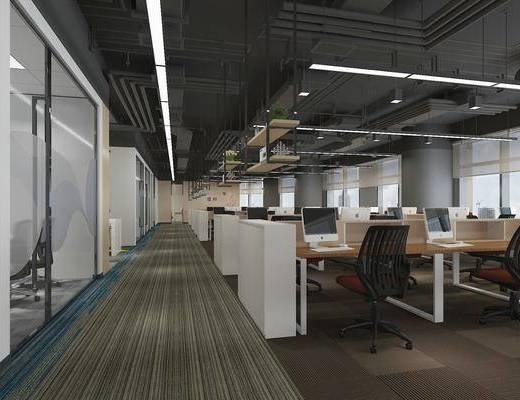 办公桌, 电脑桌, 吊灯, 会议室, 走道