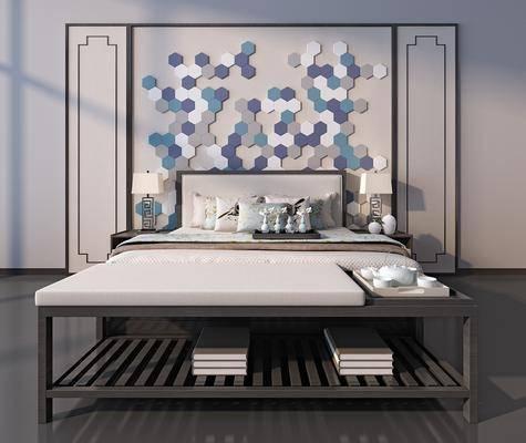 中式床具, 中式床尾凳, 中式床头柜