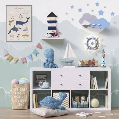 儿童收纳柜, 玩具, 摆件, 挂画