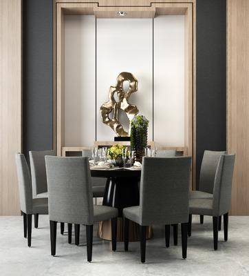 餐桌椅, 桌椅组合, 现代, 后现代, 餐具, 陈设品, 摆件