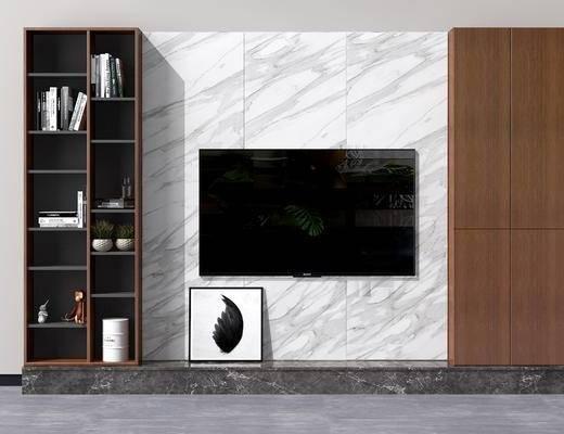 现代电视背景墙, 中式电视背景墙, 北欧电视背景墙, 液晶电视, 现代书柜, 北欧书柜, 现代, 电视墙, 背景墙, 北欧, 陈设品, 置物柜, 电视柜