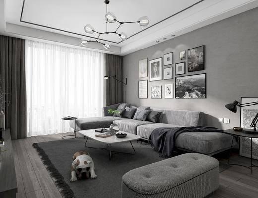 沙发, 餐桌, 电视柜, 吊灯, 装饰画