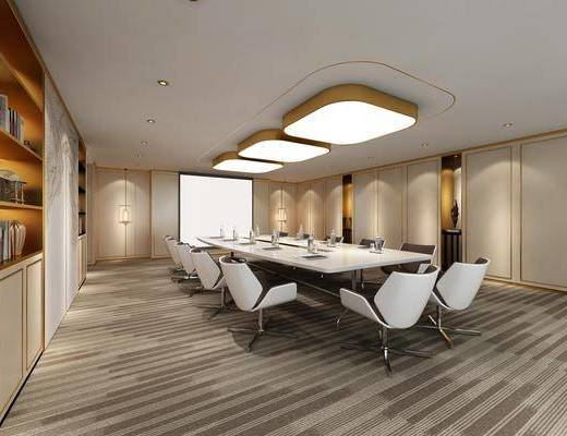 会议室, 会议桌, 单人椅, 吸顶灯, 装饰柜, 摆件, 装饰品, 陈设品, 现代