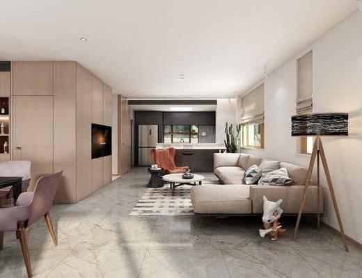 现代客厅, 现代餐厅, 现代沙发, 现代, 酒柜, 吊灯, 落地灯