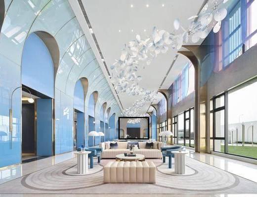 售楼处, 洽谈区, 沙发组合, 吊灯, 茶几