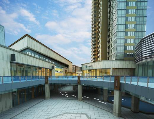 现代商业街, 现代商场, 现代户外建筑