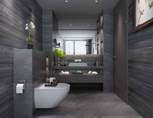 卫生间, 马桶, 洗手台, 装饰画, 挂画, 浴缸, 花洒, 摆件, 装饰品, 陈设品, 现代