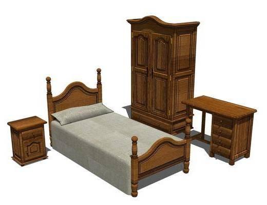 单人床, 床具组合, 衣柜, 床头柜