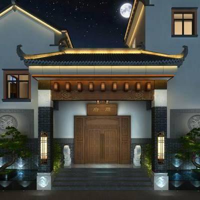 室外庭院门头, 中式