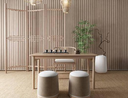 新中式茶桌椅, 植物, 隔断
