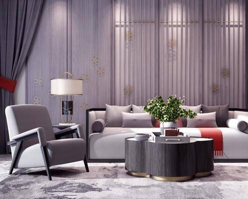 沙发, 茶几, 边几, 单椅, 单人沙发, 摆件, 装饰品, 圆几, 台灯, 植物, 盆栽, 新中式, 新中式沙发组合