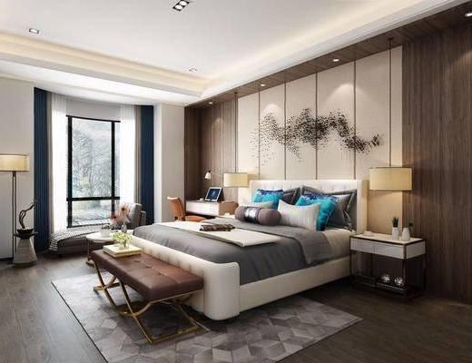 新中式, 新中式卧室, 沙发, 台灯, 双人床