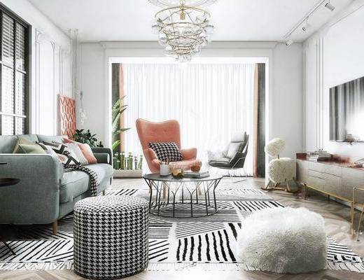 沙发组合, 单椅, 电视柜, 电视, 茶几, 摆件组合, 吊灯