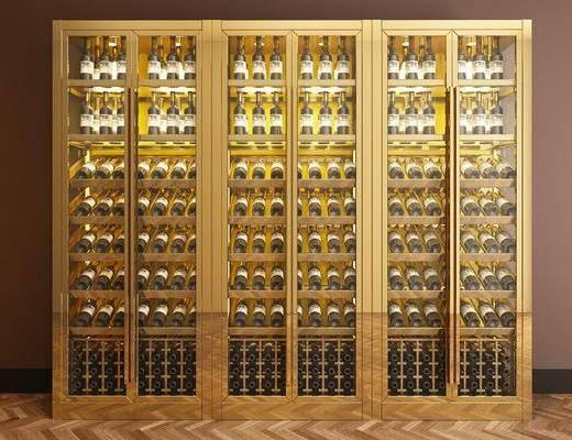 酒柜, 酒窖, 酒瓶, 现代