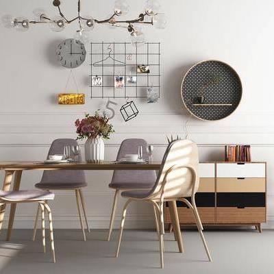 餐桌, 餐椅, 边柜, 摆件, 挂饰, 装饰物, 吊灯, 北欧