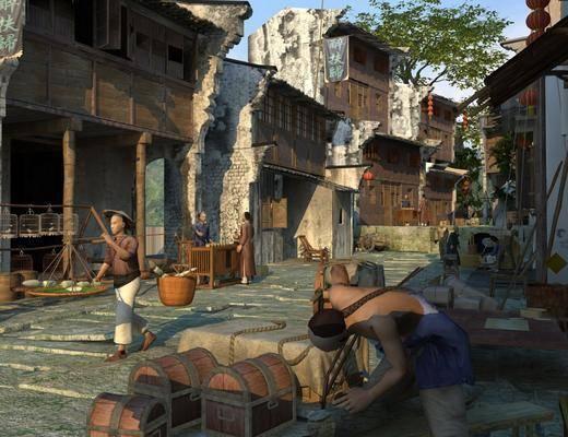 古建, 古街, 破楼, 人, 摊位, 店铺, 商业, 街市, 街道, 鸟笼, 中式