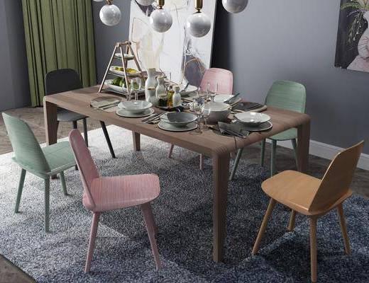 北欧餐桌, 餐桌, 餐桌椅, 桌椅组合