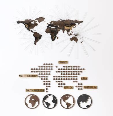 墙饰壁饰, 世界地图, 现代