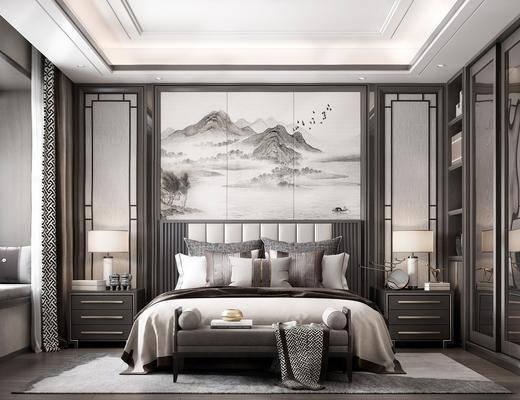 电视柜, 背景墙, 衣柜, 双人床, 床尾踏, 床头柜