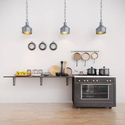 橱柜组合, 厨具, 吊灯, 电器