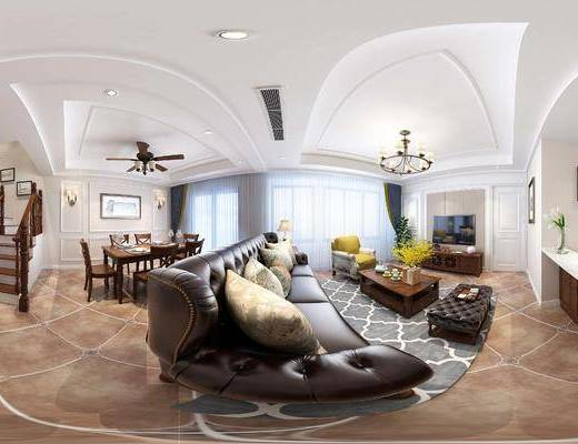 美式客餐厅, 美式沙发, 美式餐桌, 吊灯, 美式, 客厅, 餐厅