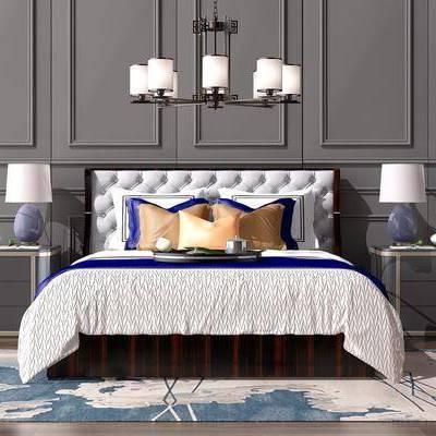 中式双人床吊灯组合, 中式, 双人床, 吊灯, 床头柜