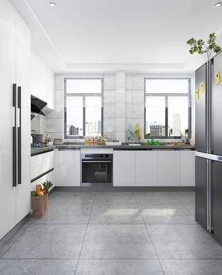 厨房, 橱柜, 冰箱, 摆件, 装饰品, 陈设品, 现代