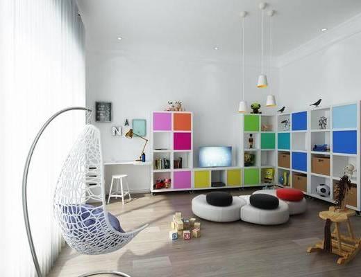 玩具, 置物柜, 吊椅, 桌椅組合, 吊燈