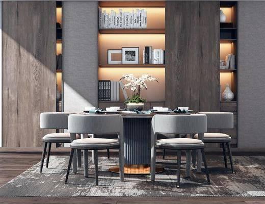 餐桌, 餐椅, 单人椅, 书桌, 休闲椅, 书柜, 装饰柜, 装饰品, 书籍, 陈设品, 现代