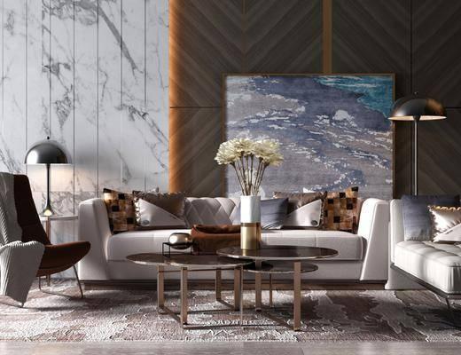 沙发组合, 多人沙发, 茶几, 躺椅, 装饰画, 挂画, 边几, 台灯, 单人椅, 花瓶花卉, 现代轻奢