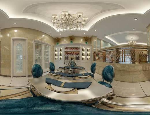 简欧客餐厅全景, 欧式餐桌椅, 多头吊灯, 酒柜, 欧式门, 楼梯