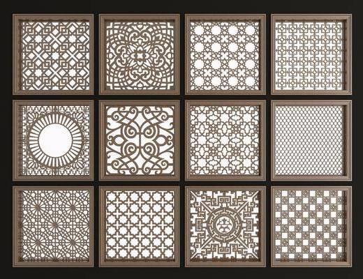 实木花格, 镂花雕花, 窗, 新中式, 双十一
