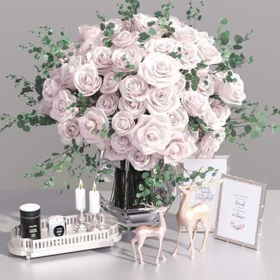 现代摆件, 花瓶花卉, 摆件组合